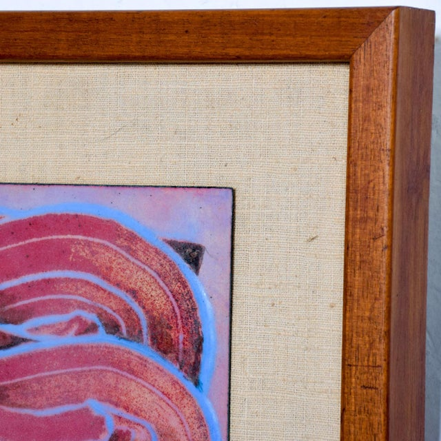 Abstract Mid Century Modern Abstract Enamel Art, Framed, Pedro Coronel Era For Sale - Image 3 of 7