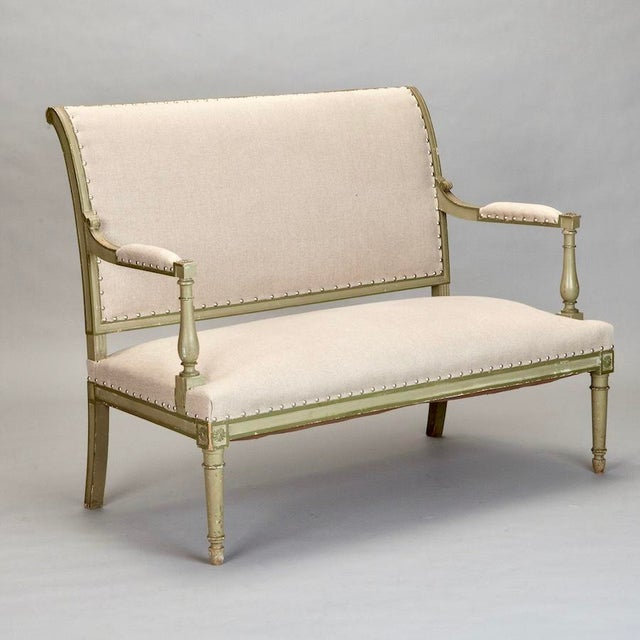 French Empire Style Painted Settee With Neutral Upholstery - Image 2 of 8