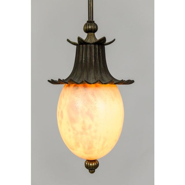 Dogfork Lamp Arts Ostrich Egg Pagoda Pendant For Sale - Image 4 of 10