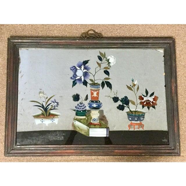 19th Century Chinese Verre Eglomise Reverse Glass Painting Chairish
