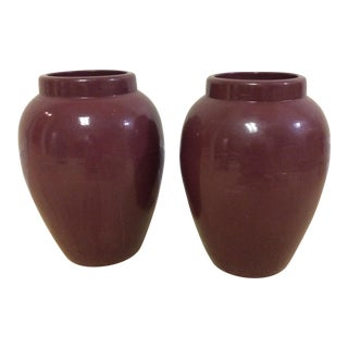 Decorative Maroon Urns - A Pair