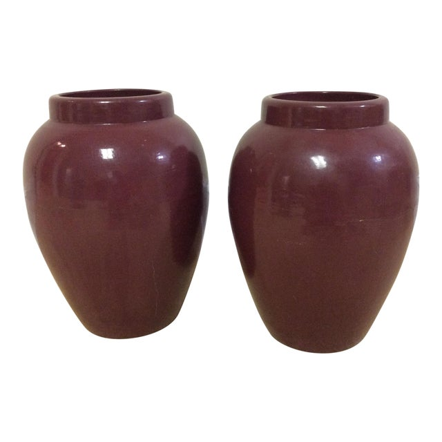 Decorative Maroon Urns - A Pair - Image 1 of 7