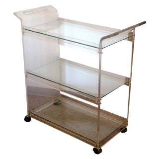 American Hustle Lucite Bar Cart For Sale