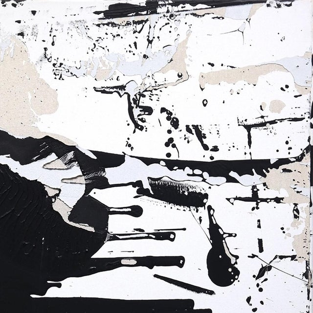 """Contemporary Original Black and White Textural Painting """"0010"""" by Cole Altuzarra For Sale - Image 3 of 12"""