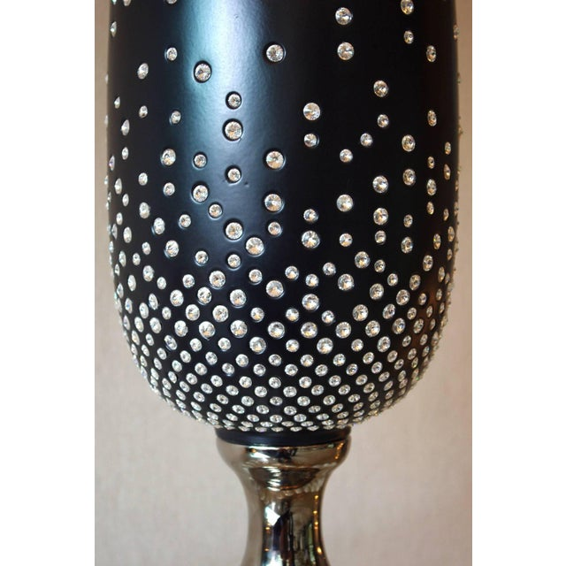 One of a kind black ceramic cone vase with Swarovski crystals / Made in Italy Diameter: 11 inches / Height: 38.5 inches...