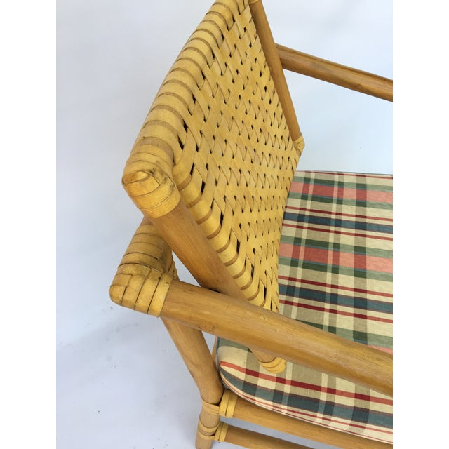 Brown Jordan Leather and Rattan Bamboo Dining Arm Chairs Set of 4 Image 8