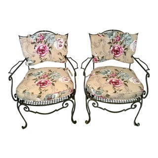 1940s Vintage French Iron Chairs - a Pair For Sale