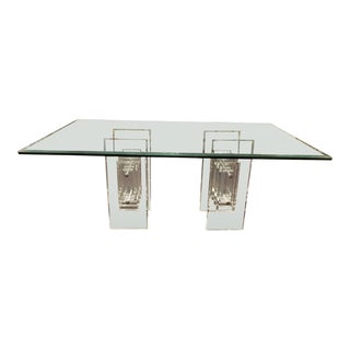 1970's Stacked Column Lucite Dining Table For Sale