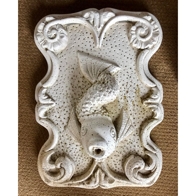Very heavy cast stone fish fountain with spout opening at mouth. Great architectural element or garden ornament.