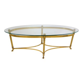 1970s LaBarge Hollywood Regency Brass Long Oval Coffee Table For Sale