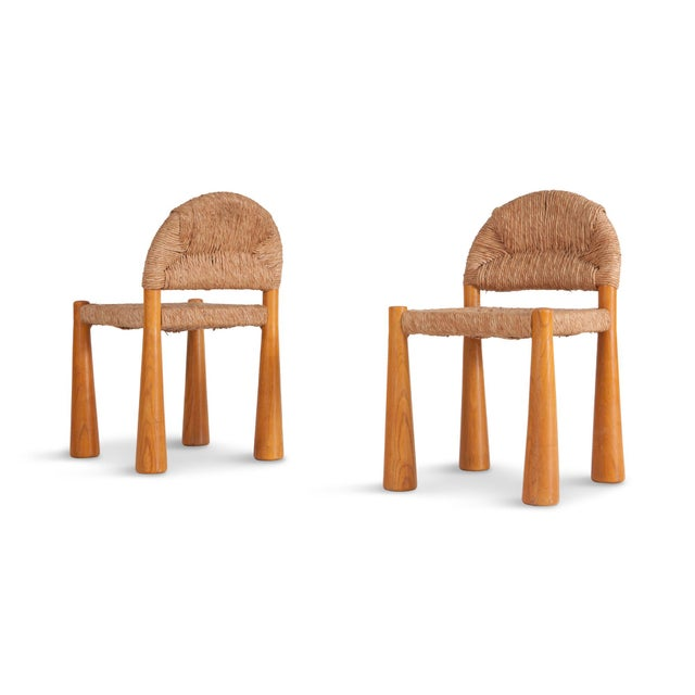 Wicker & Solid Pine Toscanolla Chairs by Alessandro Becchi for Giovanetti For Sale - Image 6 of 8