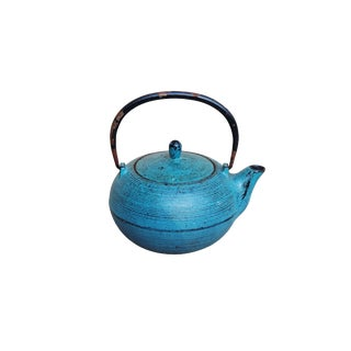 Decorative Iron Teapot in Teal For Sale