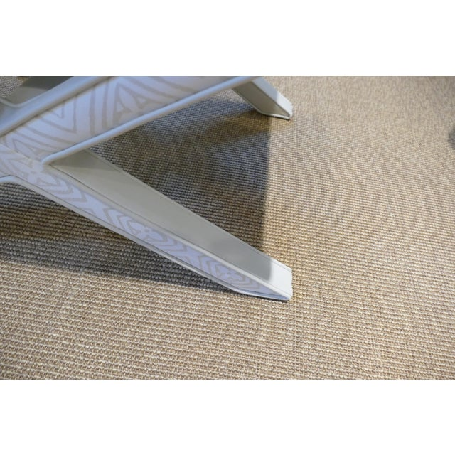 Modern Quadrille & Leather X-Benches- A Pair For Sale - Image 10 of 11