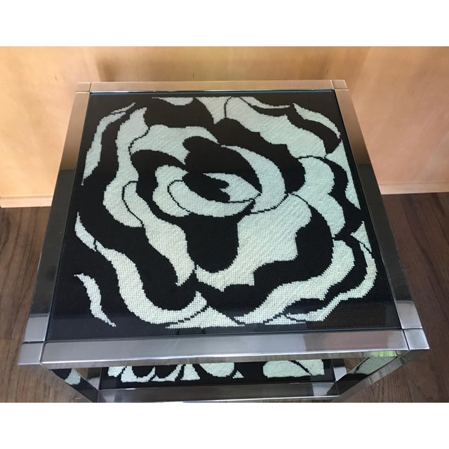 Mastercraft Chrome and Custom Pucci Style Needlepoint 1960's Side Table - Image 9 of 9