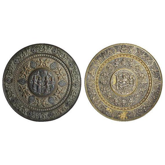 19th Century Tanjore Brass Plaque #1, South India For Sale - Image 9 of 10
