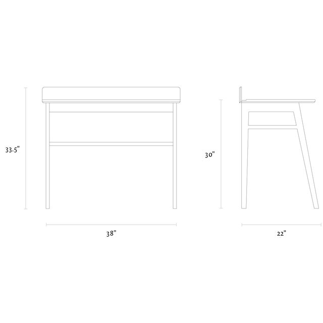 Solid White Oak Desk - Image 4 of 5