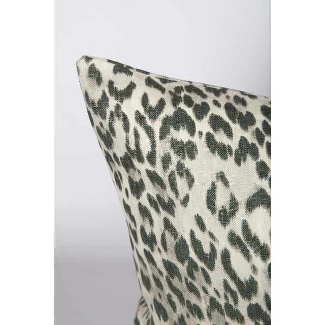 Pair of custom charcoal grey and ivory pillows made from a linen leopard pattern fabric. Patterns on fronts and backs....