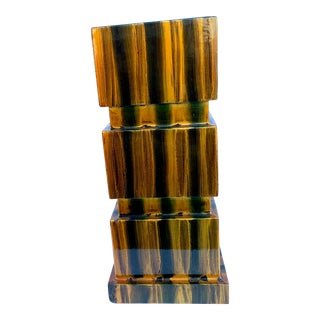 Karl Springer Style Tigers Eye and Black Lacquer Architectural Vase For Sale