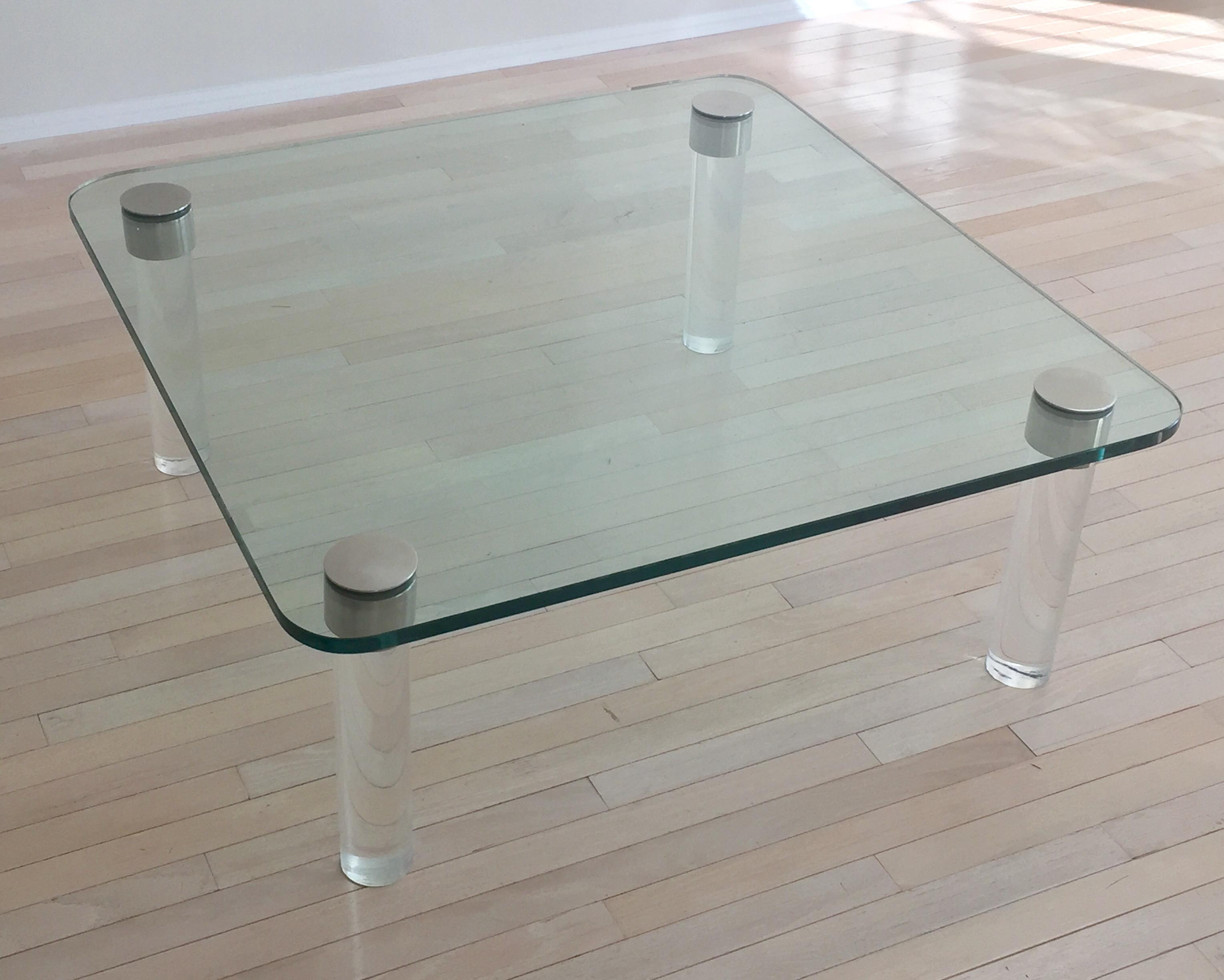 Pace Glass U0026 Chrome Coffee Table With Lucite Legs   Image 2 ...