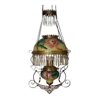 Antique Victorian Hanging Electrified Oil Lamp With Crystals For Sale