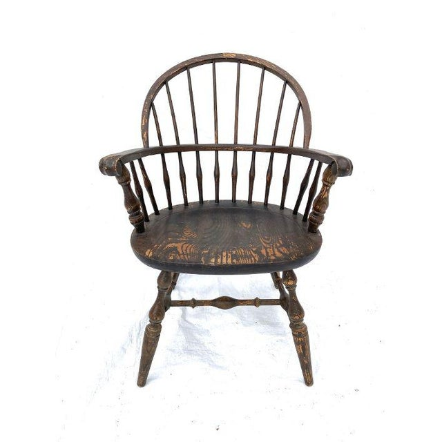 Brown Vintage Nichols and Stone Rockport Windsor Rustic Farm House Style Chair For Sale - Image 8 of 8