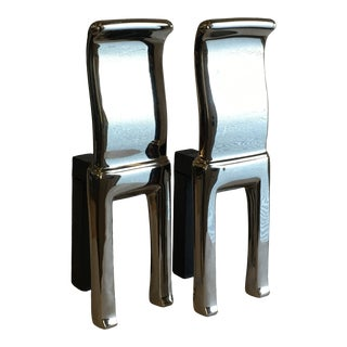 Modern Polished Nickel Scroll Andirons - a Pair For Sale