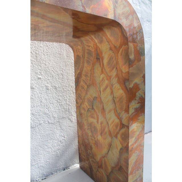 Brown Paul Evans Style Waterfall Copper Console Table For Sale - Image 8 of 11