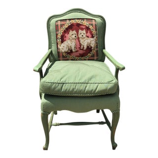 Late 20th Century Antique French Gingham Fabric & Dog Detailing Chair For Sale