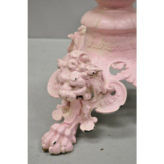 19th Century Antique French Empire Style Cast Iron Pedestal Side Table Base With Lions For Sale - Image 5 of 13