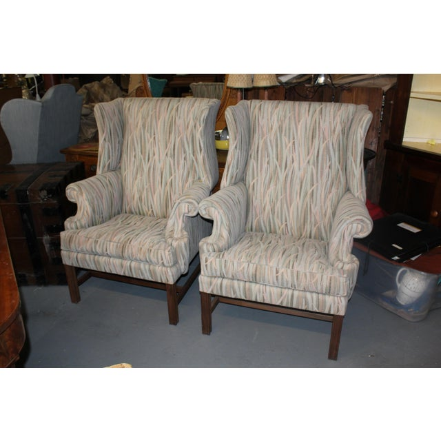 Vintage Mid Century Reed Wingback Chairs- A Pair For Sale - Image 4 of 4