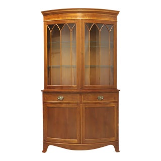 Vintage 20th Century Georgian Yew Wood Bow Front China Cabinet For Sale