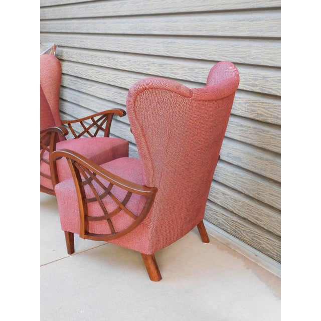 1940s Vintage Swedish Modernist Winged Back Spider Web Armchairs- a Pair For Sale - Image 11 of 13