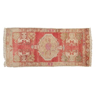 "Vintage Distressed Oushak Rug Mat Runner - 1'9"" X 3'10"" For Sale"