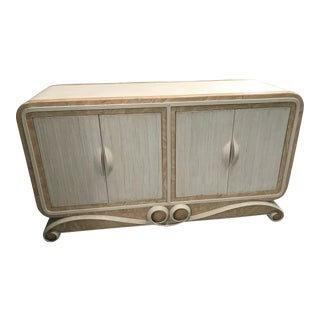 White Washed Marble & Reed Credenza