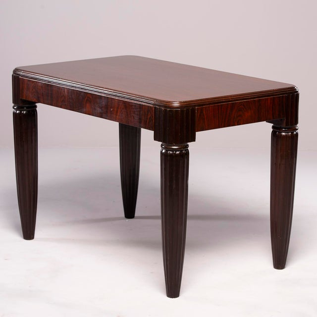 Gold 1930s French Rosewood Writing Table With Fluted Legs For Sale - Image 8 of 12