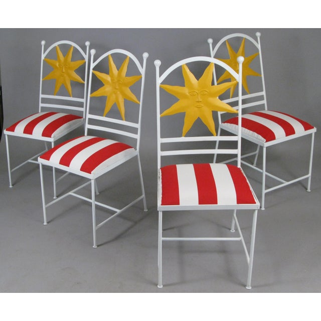 1960s Wrought Iron Shining Sun Chairs - Set of 4 For Sale In New York - Image 6 of 6