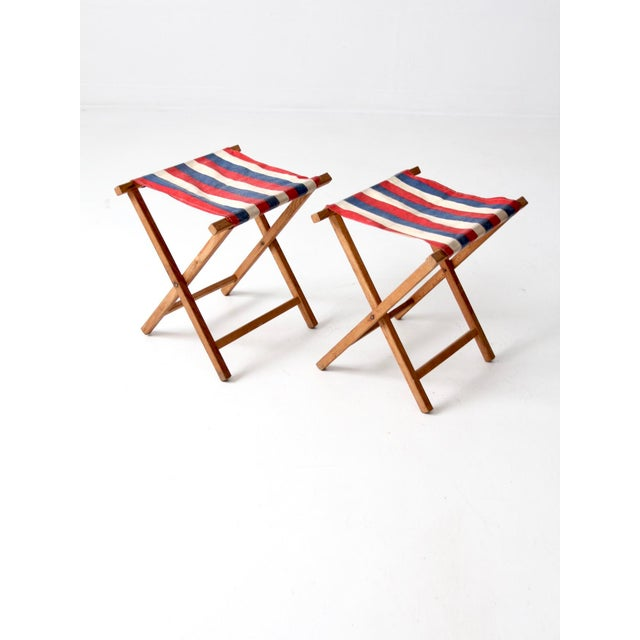 Nautical Vintage Striped Camp Stools - Set of 2 For Sale - Image 3 of 10