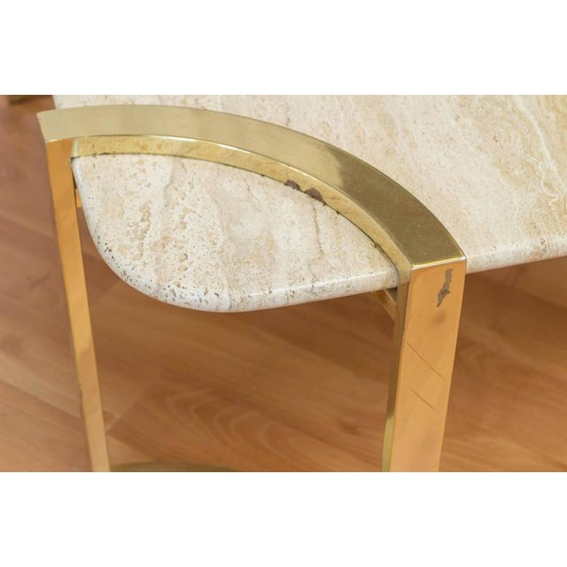 Italian Travertine And Brass Coffee Table