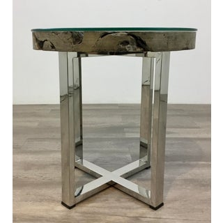 Industrial Modern Stainless Steel and Reclaimed Teak End Table Preview