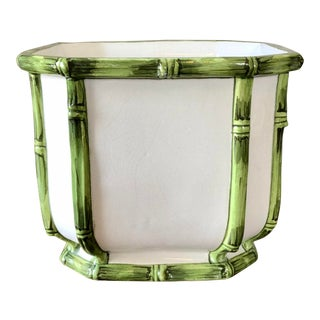 Vintage White Green Italian Pottery Bamboo Planter For Sale
