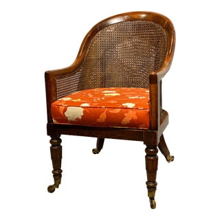 Regency Faux Rosewood Caned Tub Chair For Sale