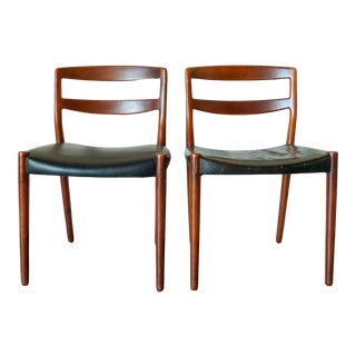 1950s Ejner Larsen & Aksel Bender Madsen Teak and Leather Chair - a Pair For Sale