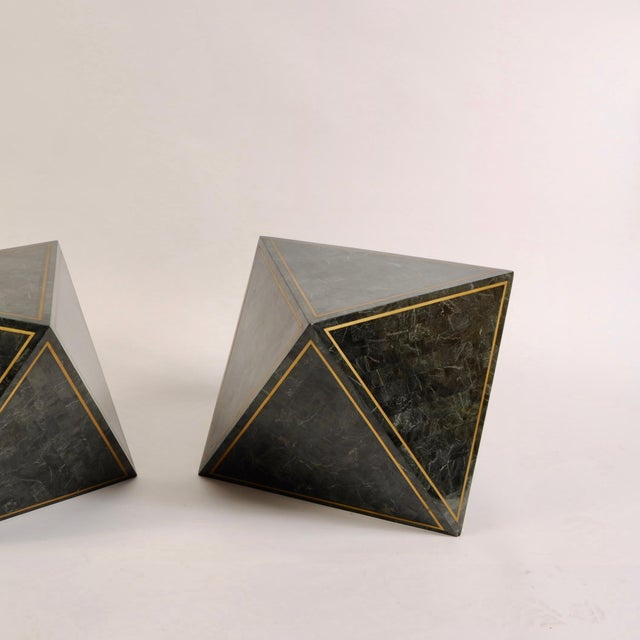 1980s 1980s Octahedron Tessellated Marble Side Tables For Sale - Image 5 of 10