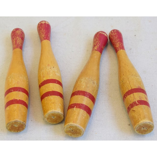 Mid-Century Modern Vintage Wooden Children's Bowling Pins - Set of Four For Sale - Image 3 of 4