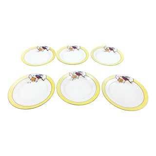 Vintage Mid Century Set of 6 Hand Painted Fine China Porcelain Plates, Made in Japan For Sale