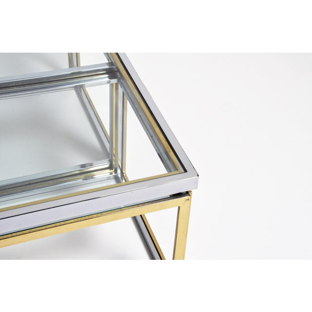 1970s Five-Piece Brass Table Set With Glass Top For Sale - Image 9 of 13