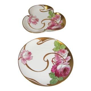 Art Nouveau Bowl & Plate - A Pair