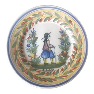 Antique French Faience Hand Painted Quimper Plate- Breton Man Dinner Plate For Sale