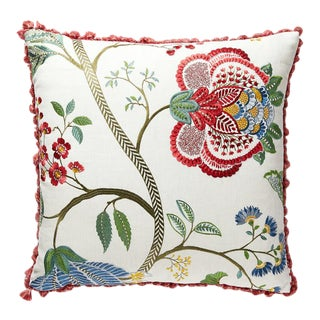 Palampore Embroidery Pillow in Red For Sale