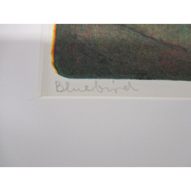 Vintage Lithograph Titled: Blue Bird and Signed 2003 Size: 11 x 12.5 x 0.03